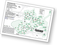<em>Downloadable Peak Baggers Map you can Print or Save to your Phone detailing all the Deweys, Marilyns, Bridgets, Hills, Peaks and Tops in The Shropshire Hills Area of Outstanding Natural Beauty. </em>
