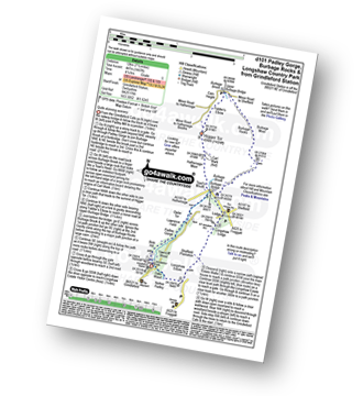 Walk route map with easy-to-follow route instructions for Derbyshire walk d101 Padley Gorge, Burbage Rocks and Longshaw Country Park from Grindleford Station pdf