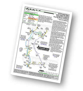Walk route map with easy-to-follow route instructions for Derbyshire walk d139 Froggatt Edge, Curbar Edge, The Derwent Valley and Grindleford from Hay Wood, Longshaw pdf