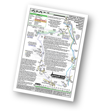 Walk route map with easy-to-follow route instructions for Derbyshire walk d169 Eyam, Sir William Hill, Stoke Ford, The River Derwent, Grindleford and Froggatt from Stoney Middleton pdf