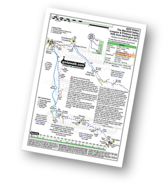 Walk route map with easy-to-follow route instructions for walk d225 Sheen, The Manifold Valley, Longnor and Pilsbury Castle Hills from Hartington pdf
