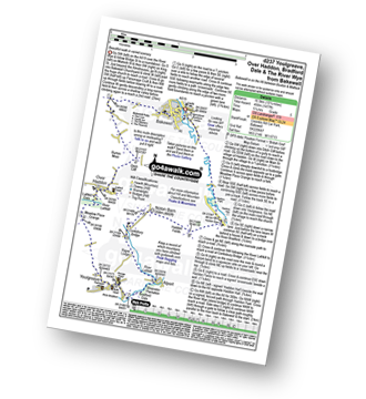 Walk route map with easy-to-follow route instructions for Derbyshire walk d237 Youlgreave, Over Haddon, Bradford Dale and The River Wye from Bakewell pdf