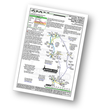 Walk route map with easy-to-follow route instructions for Derbyshire walk d307 Curbar, The River Derwent, Froggatt, Curbar Edge and Baslow Edge from Baslow pdf