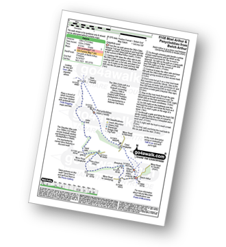 Walk route map with easy-to-follow route instructions for walk fl108 Moel Arthur and Penycloddiau from Bwlch Arthur pdf