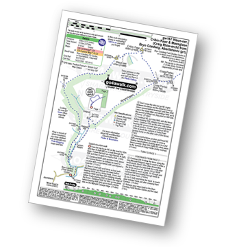 Walk route map with easy-to-follow route instructions for walk gw167 Waun-oer, Cribin Fawr and Maesglase from Bryn Coedwig, Aberllefenni pdf