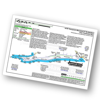 Walk route map with easy-to-follow route instructions for Isle of Wight walk iw101 Tennyson's Monument and The Needles from Freshwater Bay pdf