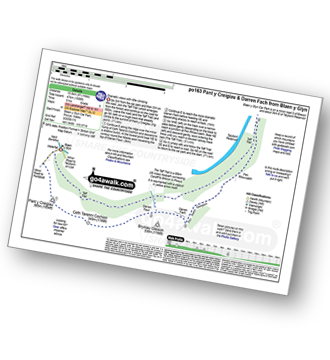 Walk route map with easy-to-follow route instructions for walk po163 Pant y Creigiau and Darren Fach from Blaen y Glyn pdf
