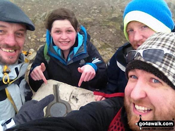 On Garnedd Ugain (Crib y Ddysgl) summit - the 2nd highest mountain in Wales. Walk route map gw136 The Snowdon (Yr Wyddfa) Horseshoe from Pen y Pass photo