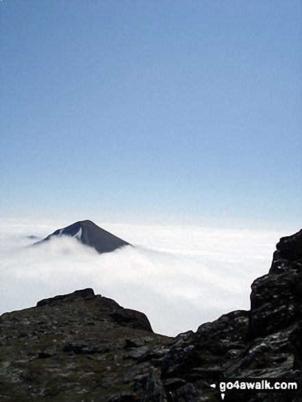 Stob Binnein (front) and Stob Coire an Lochain (Stob Binnein) poking through the clouds during a temperature inversion - viewed from the summit of Ben More (The Crianlarich Hills)