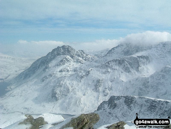 Tryfan & Glyder Fach (in cloud) from Y Garn (Glyders)