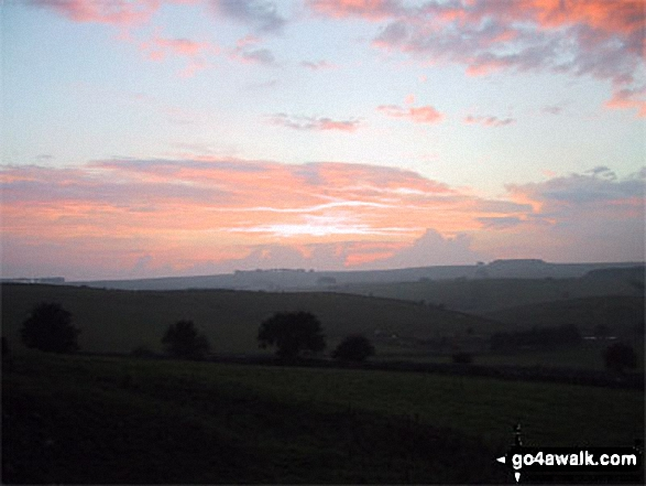 Sunset from the High Peak Trail. Walk route map d152 Monyash, Youlgreave, Bradford Dale, Middleton-by-Youlgreave and Kenslow Knoll from Hurdlow (Sparklow) photo