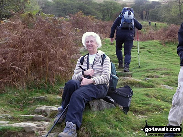 My Auntie Eunice halfway up Wansfell Pike on our holiday