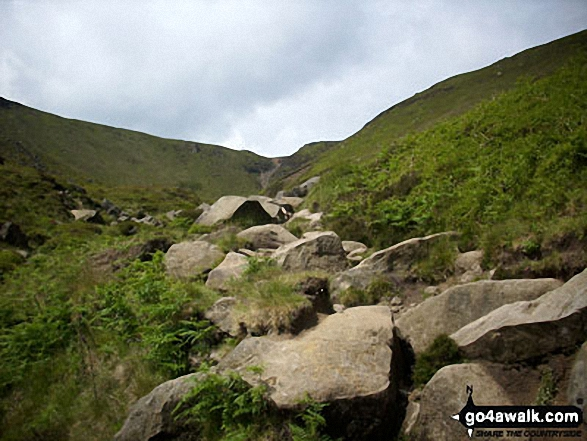 The view up Grindsbrook Clough. Walk route map d296 Jacob's Ladder and Kinder Scout from Edale photo