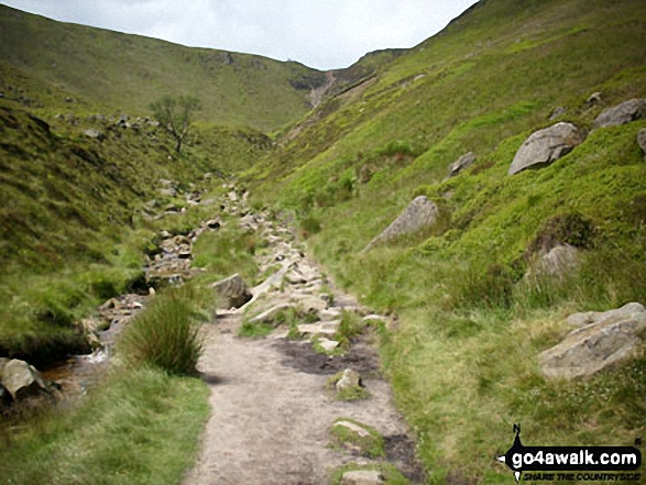 Climbing up Grindsbrook Clough. Walk route map d296 Jacob's Ladder and Kinder Scout from Edale photo