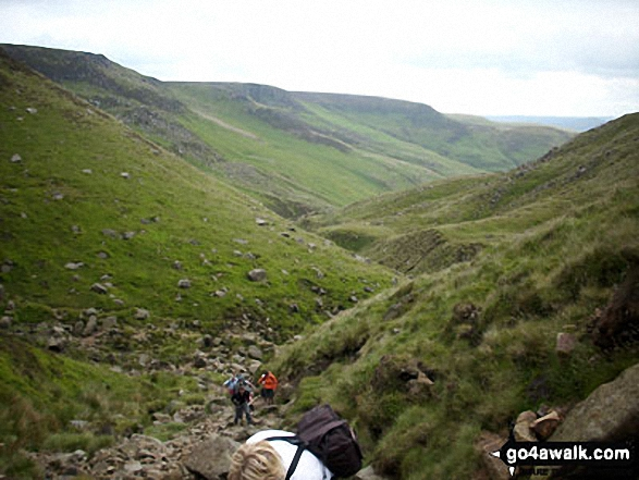Looking down from the top of Grindsbrook Clough. Walk route map d296 Jacob's Ladder and Kinder Scout from Edale photo
