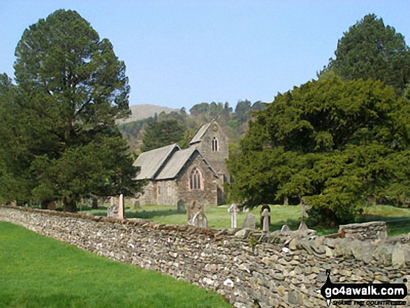 Patterdale Church. Walk route map c249 The Knott and Angletarn Pikes from Patterdale photo