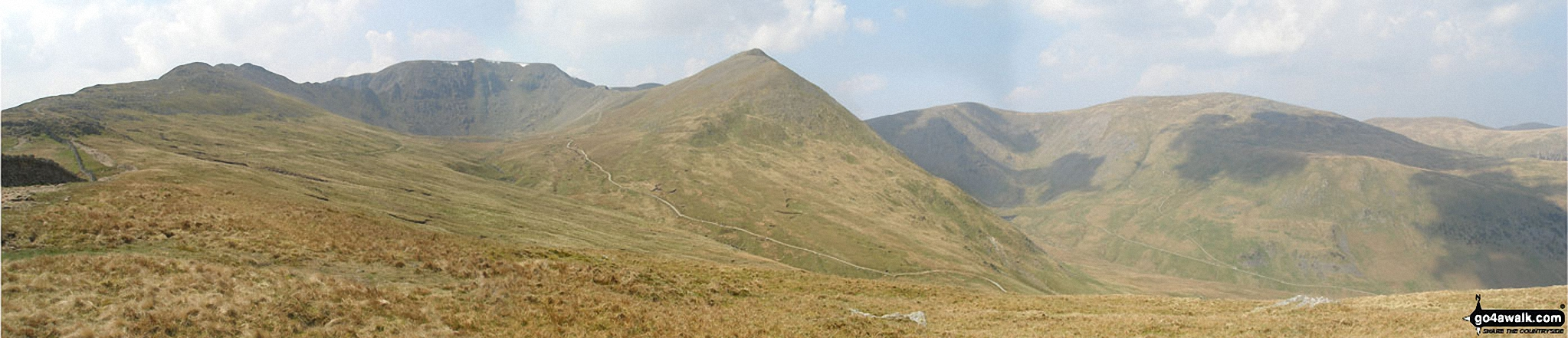 Striding Edge, Helvellyn, Swirral Edge and Catstye Cam from Hole-in-the-Wall