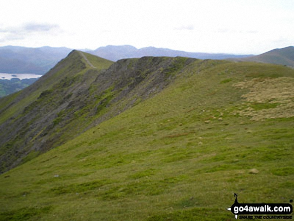 Knowe Crags and The Blencathra or Saddleback Ridge from Hallsfell Top