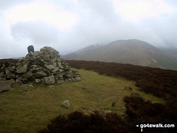 Whinlatter (Brown How) summit cairn with Graystones in the distance