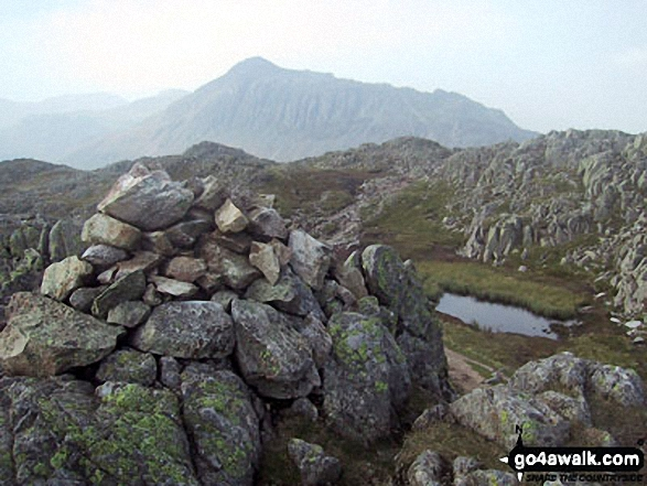 Bow Fell (Bowfell) from Shelter Crags (North Top) summit cairn