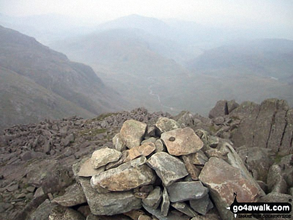 Harter Fell (Eskdale) (back), Hard Knott and The Lingcove Valley from Bow Fell (Bowfell) summit cairn