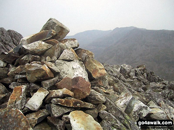 The Scafell Massif from the cairn on the summit of Esk Pike. Walk route map c194 Scafell Pike from The Old Dungeon Ghyll, Great Langdale photo