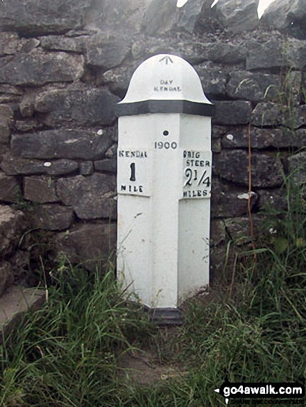 Old milepost on the Brigsteer Road. Walk route map c190 Scout Scar from Kendal photo