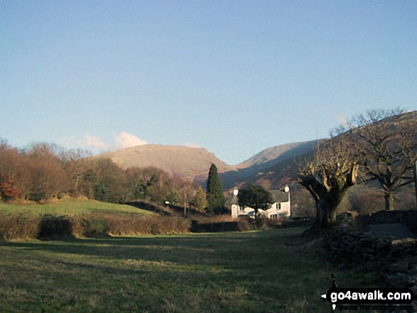 Seat Sandel (left) Grisedale Hause & Fairfield (right) from near Goody Bridge on the outskirts of Grasmere