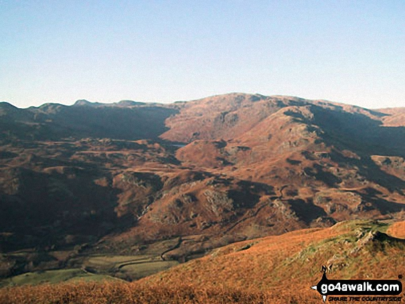 High Raise (Langdale) and Coledale Head beyond Grasmere Common from Helm Crag