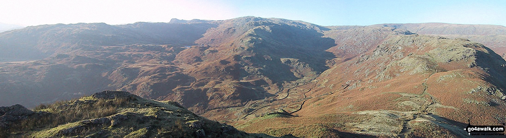 High Raise (Langdale) (centre), Coledale Head, Calf Crag and Gibson Knott (far right) above Grasmere Common from Helm Crag