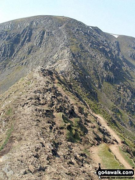 Striding Edge. Walk route map c220 Helvellyn via Striding Edge from Glenridding photo