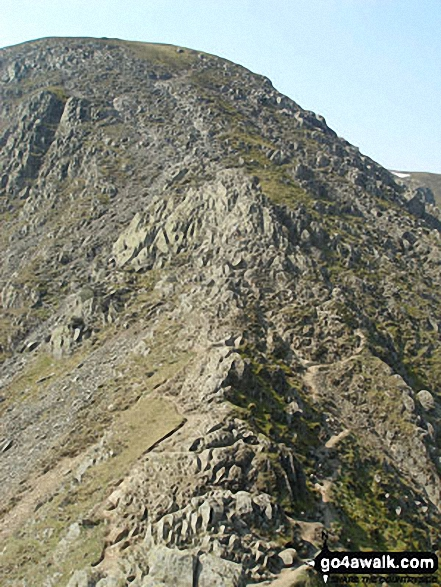 Helvellyn from the 'Bad Step' at the western end of Striding Edge