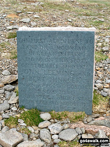 The aircraft memorial on Helvellyn