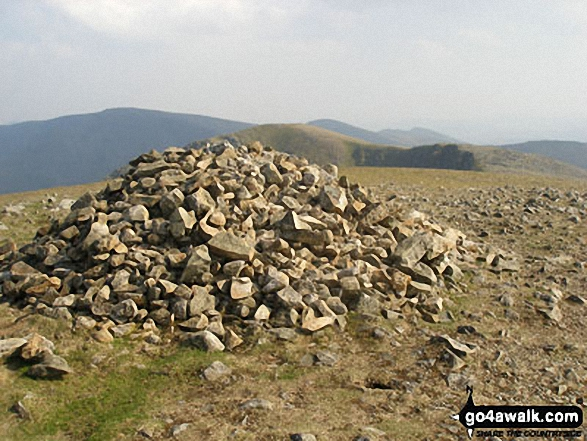 High Crag (Helvellyn) summit cairn. Walk route map c220 Helvellyn via Striding Edge from Glenridding photo