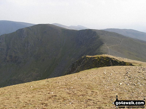 Fairfield from Dollywaggon Pike. Walk route map c220 Helvellyn via Striding Edge from Glenridding photo