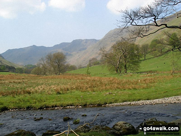 Grisedale Beck with Helvellyn in the distance. Walk route map c220 Helvellyn via Striding Edge from Glenridding photo