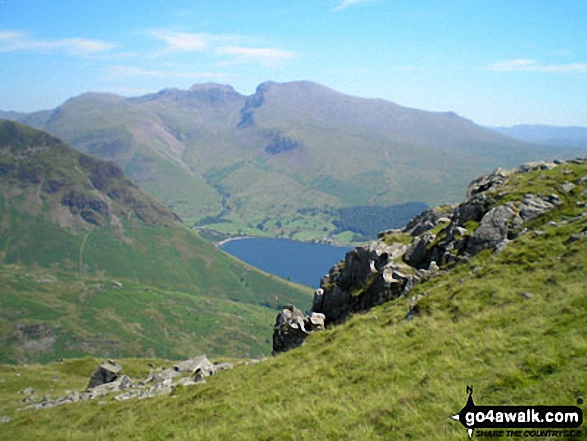 Lingmell, Scafell Pike, Mickledore and Sca Fell above Wast Water from near Middle Fell (Wasdale)