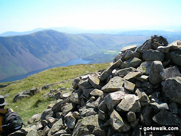 Whin Rigg and Wast Water from Middle Fell (Wasdale) summit cairn