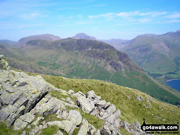 Yewbarrow with Kirk Fell, Great Gable and Lingmell beyond from Middle Fell (Wasdale)