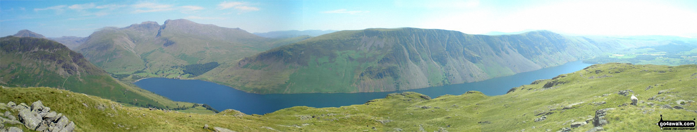 Yewbarrow, Wasdale Head, Wast Water, Lingmell, Scafell Pike, Mickledore and Sca Fell, Illgill Head and Whin Rigg from below Middle Fell (Wasdale)