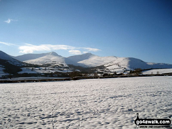 Cribyn and Pen y Fan in the snow from near Brecon