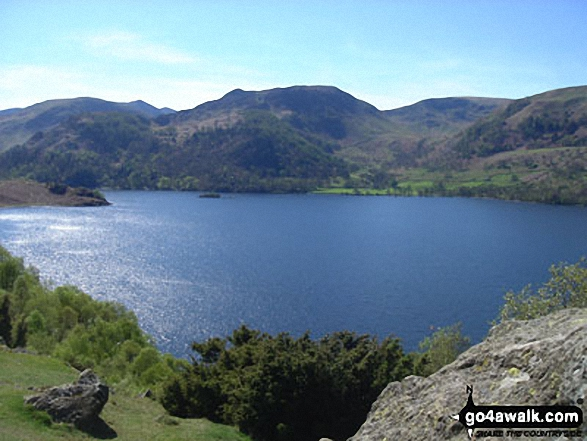 Glenridding and The Helvellyn Massiff from Long Crag on the shores of Ullswater