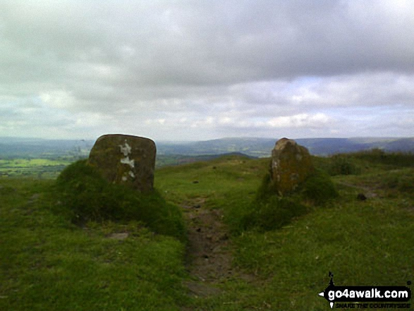 St Michaels Chapel on the summit of Skirrid Fawr (Ysgyryd Fawr). Walk route map mo128 The Skirrid from Abergavenny photo