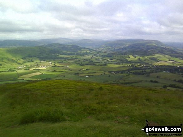 The Black Mountains from the summit of Skirrid Fawr (Ysgyryd Fawr). Walk route map mo128 The Skirrid from Abergavenny photo