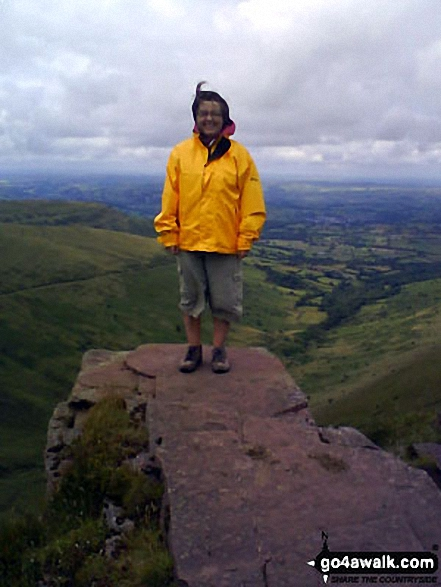 On the summit of Fan y Big. Walk route map po131 Bwlch y Ddwyallt and Fan y Big from Blaen y Glyn photo