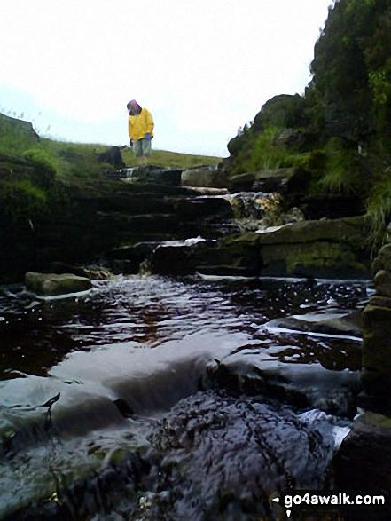 The Blaen Caerfanell waterfall near Blaen y Glyn. Walk route map po131 Bwlch y Ddwyallt and Fan y Big from Blaen y Glyn photo