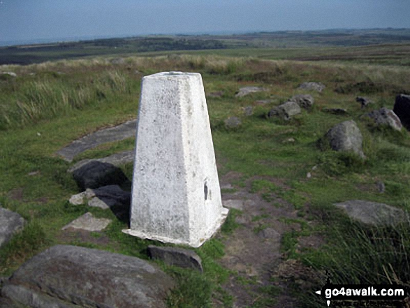 The trig point on the summit of White Edge (Big Moor) (South East Top)