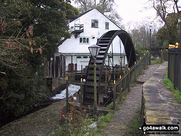 Water Wheel nr Rowarth. Walk route map d171 Lantern Pike and Cown Edge Rocks from Hayfield photo