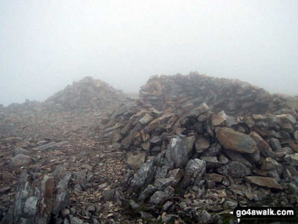 Mynydd Moel summit cairn and stone shelter