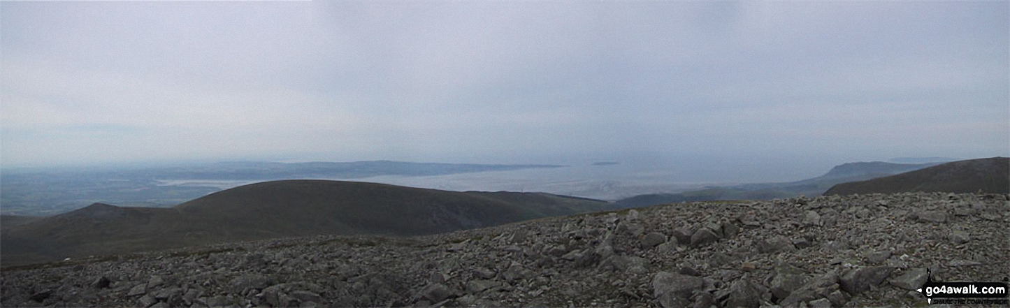 Moel Wnion with Anglesey and Conwy Bay beyond from the summit of Drosgl
